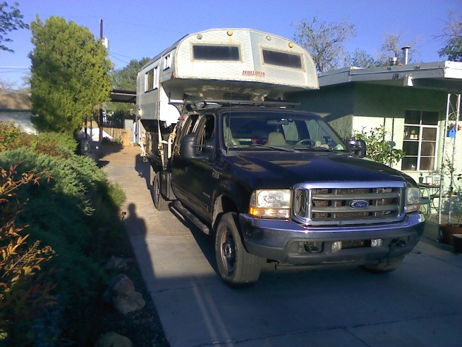camper on truck before